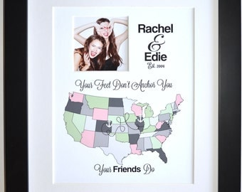 Long distance, best friend gift long distance, going away gift for best friend personalized long distance friendship gift custom friend gift