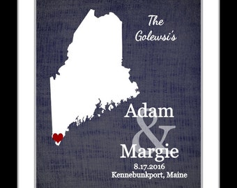 Personalized gift idea, custom engagement announcement present, maine wedding gift love, maine state map wall art print, home decor