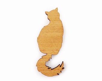 Laser cut Fluffy Cat Brooch made from Australian Tallowwood
