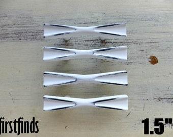4 Bow Tie Handles Shabby Chic White Cabinet Furniture Pulls Painted Kitchen Hardware Cupboard Dresser Drawer 1 1/2 inch ITEM DETAILS BELOW