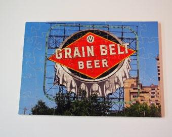 Wooden Jigsaw Puzzle Grain Belt Beer Sign