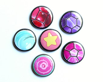 Steven Universe Mini Buttons // Crystal Gem Buttons // Steven Universe Magnets // Crystal Gem Magnets // Rose's Shield // Peal // Amethyst