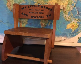 50s Vintage Child's Wash & Brush TV Step Stool Chair