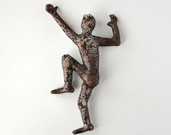 Climbing man sculpture, wire mesh sculpture, home decor, hanging man, metal sculpture, mountain climbing