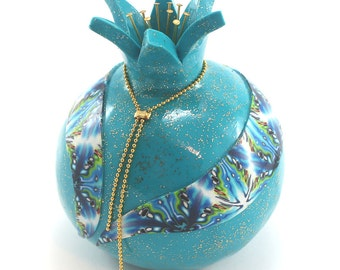 Home decor pomegranate, prosperity symbol, Polymer clay turquoise Pomegranate, one pomegranate with blue decoration, Rosh hashanah gift