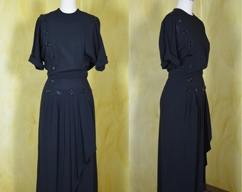 Early 1950s I Magnin Classic Black Crepe Dress with Button Detail & Pleated Swag