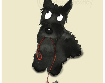 Scottie Dog Art Print  'Walkies.......?'  Scottish Terrier #190