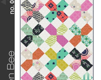 XOXO Quilt Pattern by Green Bee Patterns - Modern Quilt Pattern 5 Sizes Included Modern Quilting Quilt Pattern