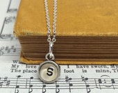 Tiny Initial Necklace, Alphabet Charm, Monogram Jewelry, Custom Letter Necklace, Dainty Initial Jewelry, Upcycled Book Alphabet Necklace
