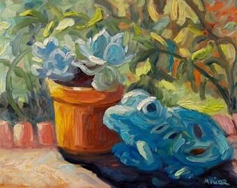 Garden art plein air painting impasto palette knife original oil painting on canvas