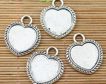 10pcs tibetan silver 2side heart shaped cameo cabochon settings EF1749