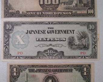 Lot of 3 WWII The Japanese Government Peso Currency Notes, Ten Pesos, One Hundred Pesos, One Pesos