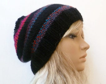 Sale - Pom Pom Slouchy Beanie - Hand Knit Hat - Women Knit Hat - Chunky Black Striped Slouchy Bobble - Slouch Pom Pom Hat - Clickclackknits