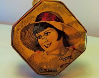 Mitzi Green Paramount Films UK Cremona 1930 octagon tin womans face movie star art deco love Desk Office Storage Vanity bedroom candy