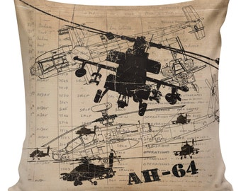 Military History, Throw Pillow, Pillow Cover, Military Family, Helicopter, AH64, 4th of July,  Cotton Throw Pillow Cover, #MI0003