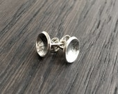 Tiny Domed Textured Silver Earrings