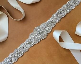 Wedding Dress Sash - Rhinestone - Pearl - Swarovski - modified GEORGIA Sash - BEST SELLER
