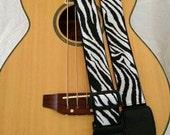 Zebra animal print guitar strap