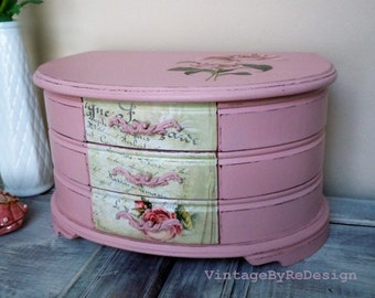 Large Jewelry Box.  Hand painted in Soft Ballerina Pink.  Roses and Peonies. Jewelry Chest. Jewelry Organizer