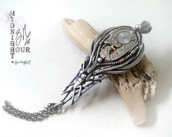 Steampunk Sterling Silver Wire Wrap 'Elgin' Watch Movement Drop Pendant (S1)