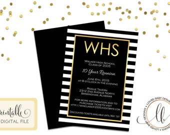 Class Reunion Invitation - DIY, Printable, Black and Gold Invitation, 10 year reunion invitation