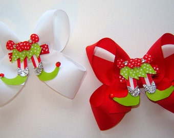 """Girls, Toddlers """"Elf Slippers"""" Ribbon Sculpture Bow w/Twisted Boutique Bow Headband Options in Red, Lime, White"""