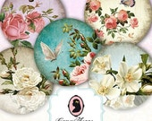75% OFF SALE SHABBY Roses 2 inches Digital Collage Sheet Circle Magnets Stickers Hang Tags Digital Scrapbook