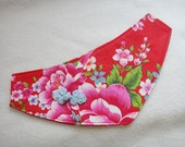 Red Asian floral pink purple pet bandana with blue frog button Traditional Taiwan floral dog bandana for Chinese New Year Birthday Party (L)