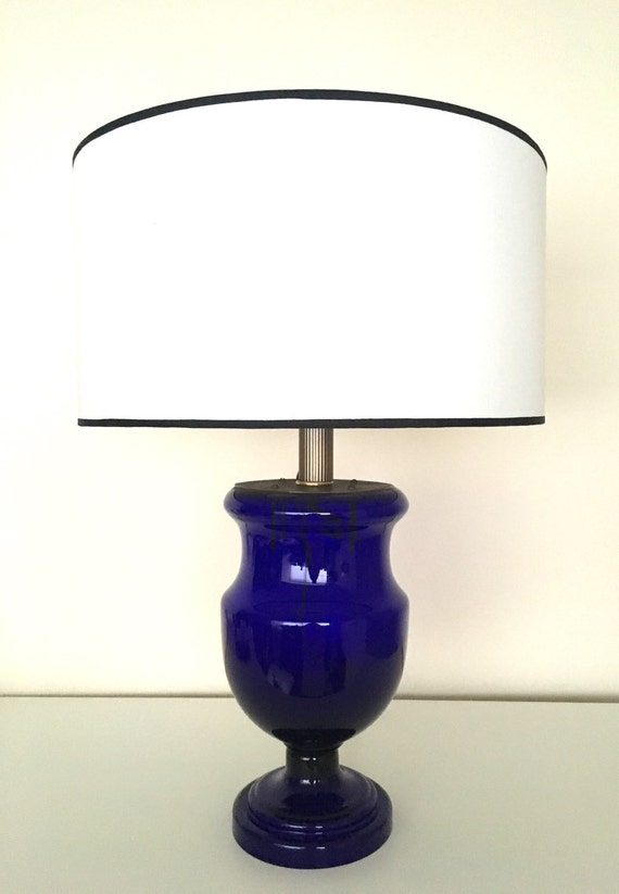 vintage table lamp made of original antique cobalt blue glass. Black Bedroom Furniture Sets. Home Design Ideas