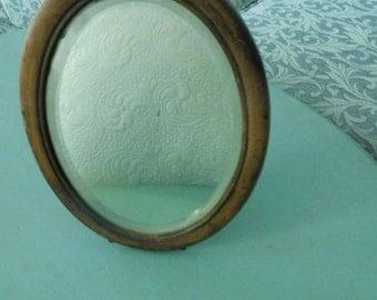 Antique Oval Beveled Shaving Mirror