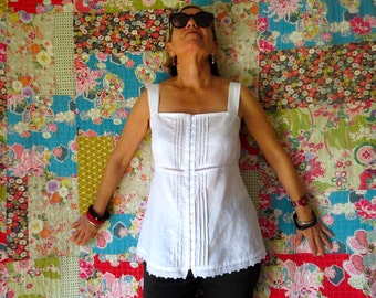 White Linen top, Camisole, Linen clothing, Summer top, Pintucks, Top with Lace trim, Handmade, Natural fibre, Broderie Anglaise, White top.