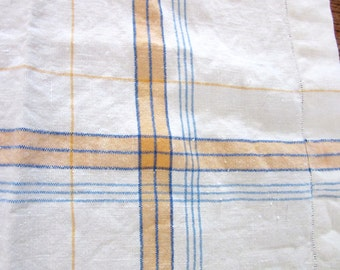 Striped Tablecloth Heavy Linen Bridge Cloth 41 Inches Square Rustic Mid Century