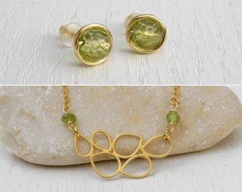 Summer SALE - Gold peridot necklace, Peridot jewelry set, Peridot studs