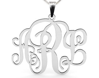 """Sterling Silver Monogram Necklace 1"""" with chain"""