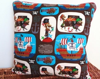 16 Inch Pirate Pillow , Playroom Pillow , Pirate Room Decor , Boys Brown and Red Pillow