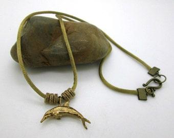 Bronze Dolphin Silk Cord Necklace, Artisan Bronze Dolphin,  Dolphin Pendant Necklace