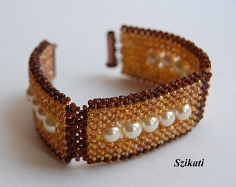 Gold/Brown Statement Cuff Bracelet, Beadwoven High Fashion Jewelry, Elegant Women's Beaded Accessory, Right Angle Weave, Gift for Her, OOAK