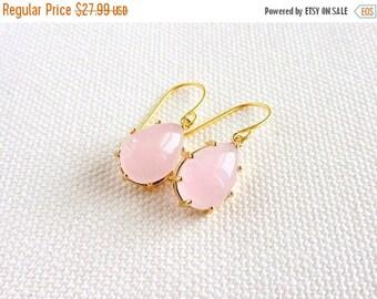 Pale Pink Earrings, Gold Teardrop Glass Stone, Pastel, Bezel, Modern Dainty Dangle Earrings, Bridesmaid, Gift for Her