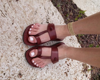 Brown Leather Sandals, EMPIRE, Women's Shoes, Jesus Sandals, Sandals, Thongs, Flip Flops, Slippers, Biblical Sandals