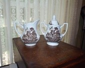 Ironstone Creamer and Sugar Brown Transferware by J G Meakin Royal Staffordshire England