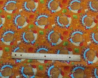 Multicolor Thanksgiving Turkey/Leaf Cotton Fabric by the Half Yard