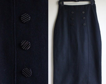 Pin-Up High Waist Wool Pencil Skirt ||  1960s || Size 4 || Pin Up Style