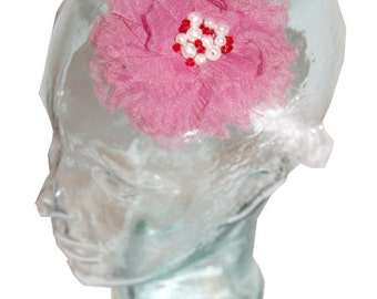 Pink Tulle Flower Baby Headband for age 1 year - older