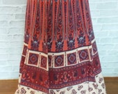 SALE. Fantastic vintage skirt Stunning design. Handmade from India. Stylish and very nice pattern and fabric. Colorful with elephant symbol.