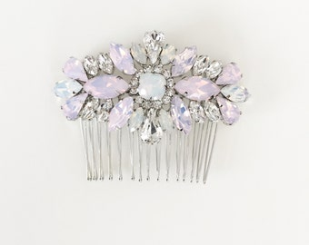 Swarvoski Opal Pink Hair comb, Crystal Bridal Hair Comb, one-of-a-kind hair comb, wedding accessories, bridal headpiece, #1010-Pink