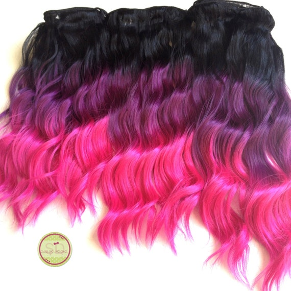 CLEARANCE Human Hair Black Hot Pink Ombre Full Set Balayage