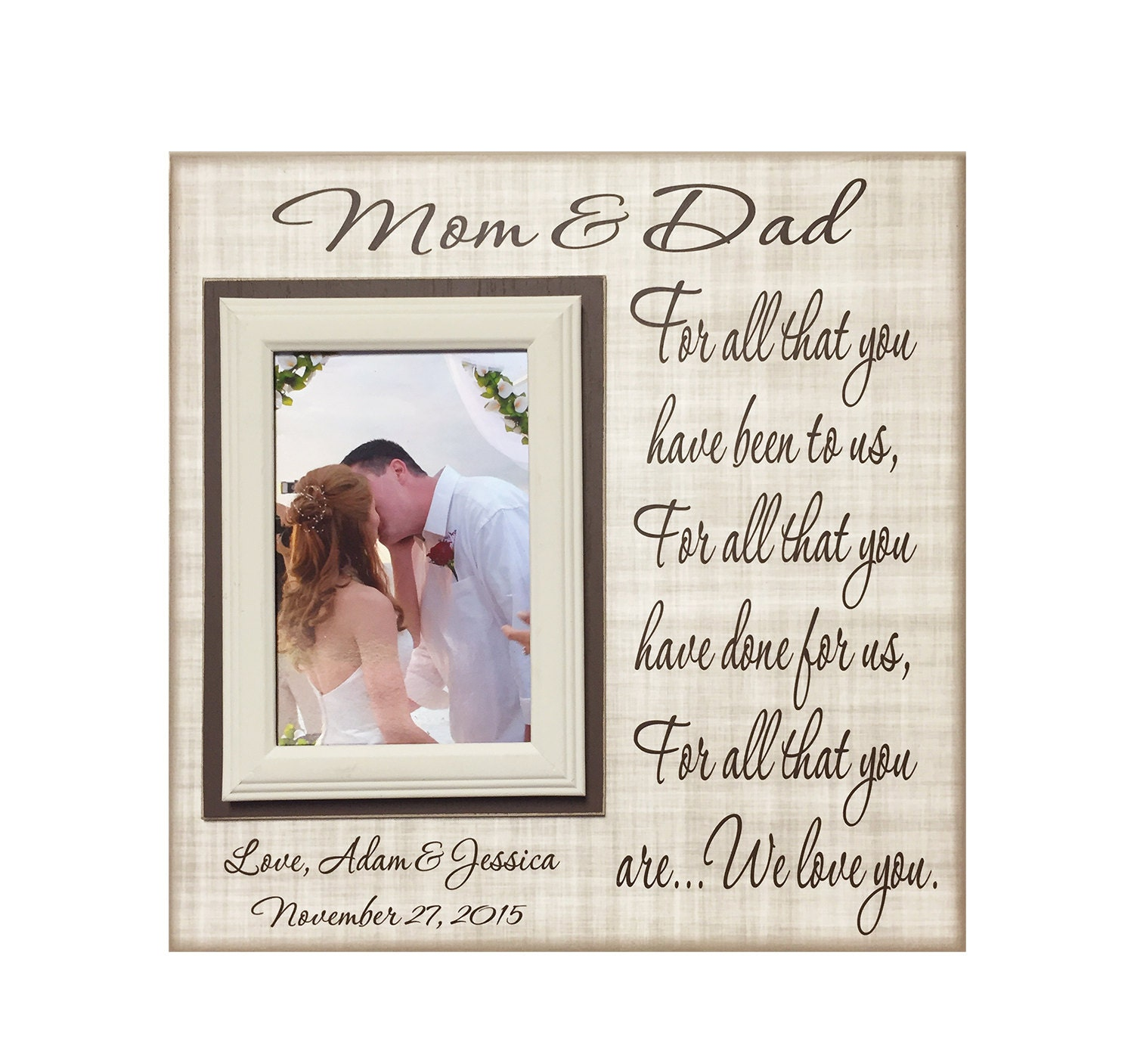 Wedding Gifts For Brides Parents : From Groom and Bride Thank You Wedding Gift For Parents