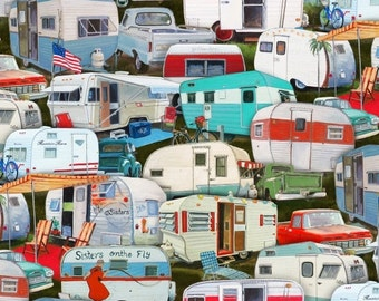 Camping Trailers - Vintage Trailers Collection - Elizabeth's Studio 3505-MULTI (sold by the 1/2 yard)