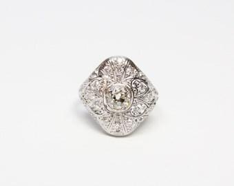 Edwardian Platinum and Diamond Filigree Ring - .75ct Old Mine Cut Diamond - Exceptional, and All Original