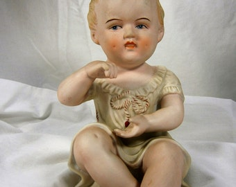 Hand Painted Bisque Porcelain Piano Baby, Vintage Andrea by Sadek, 23/110, Porcelain Baby Figurine, Bisque Baby Figurine